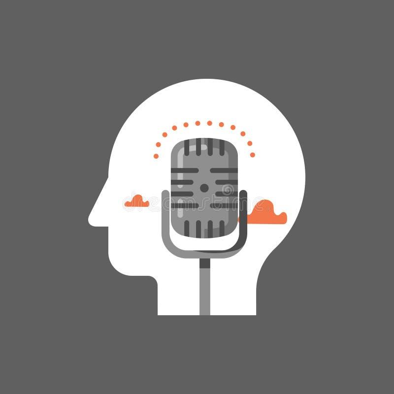 Студия звукозаписи музыки, podcast концепция, радиопостановка передачи, микрофон комеди-клуба иллюстрация штока