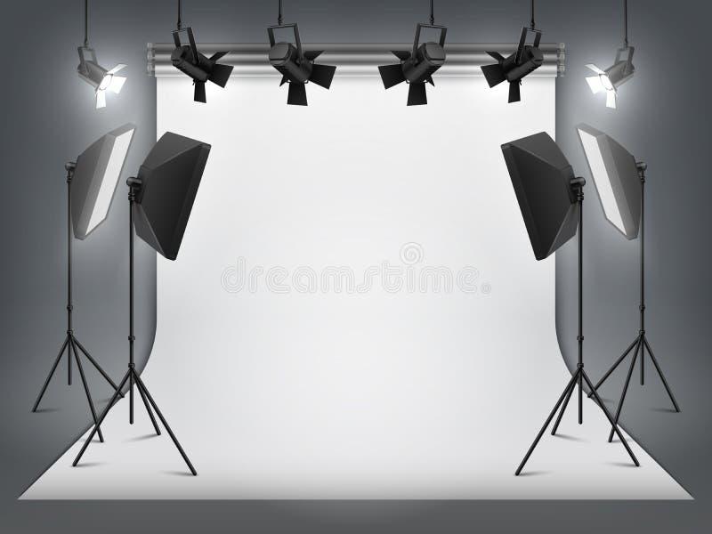 Студия фотографии Фон и фара фото, реалистический прожектор с треногой и оборудование студии Студия вектора иллюстрация вектора