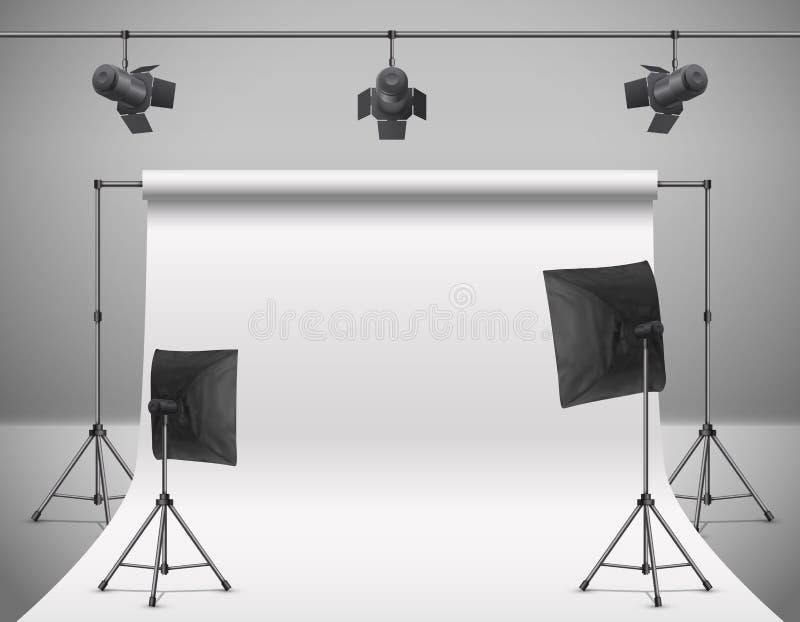 Студия фото вектора пустая с оборудованием иллюстрация вектора