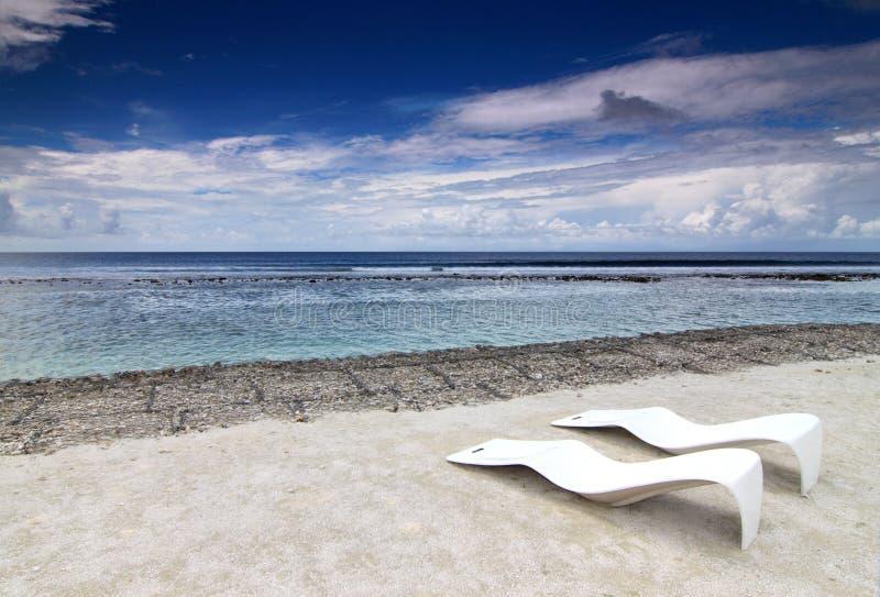 стулы 1 пляжа стоковые фото