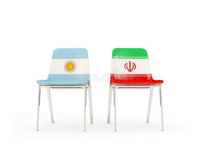 2 стуль с флагами Аргентины и Ирана иллюстрация штока