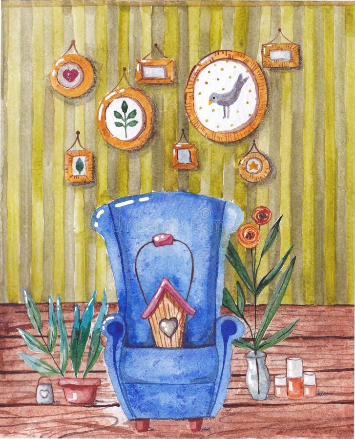Стул бабушки уютный в комнате изображение иллюстрации летания клюва декоративное своя бумажная акварель ласточки части бесплатная иллюстрация