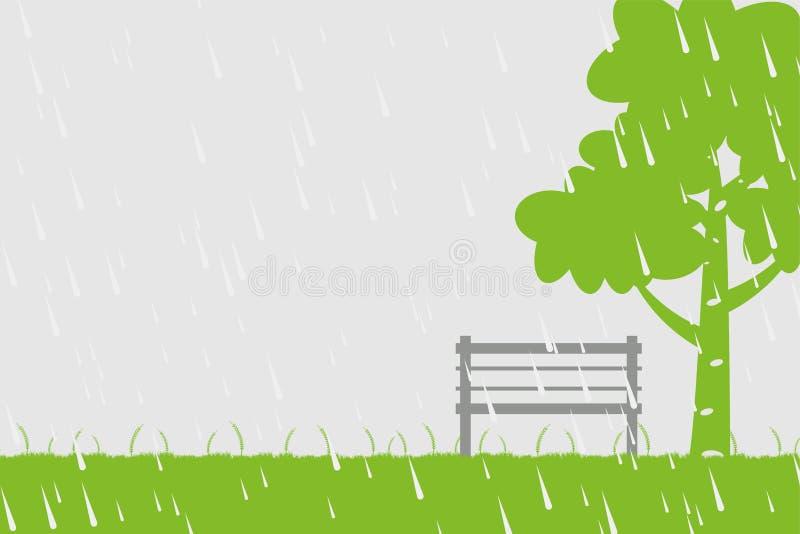 Стул и дерево в дожде на зеленой предпосылке иллюстрация штока