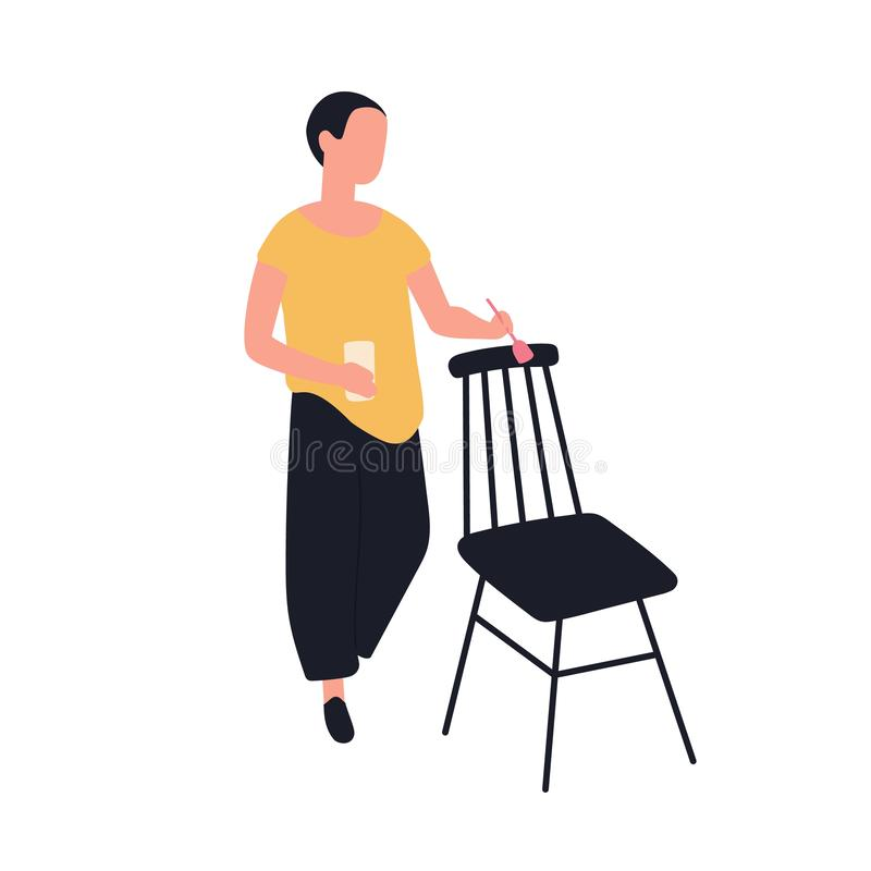 Стул милой прелестной картины женщины деревянный Женский работник ремесленничества мебели наслаждаясь ее хобби Молодое смешное тв иллюстрация вектора
