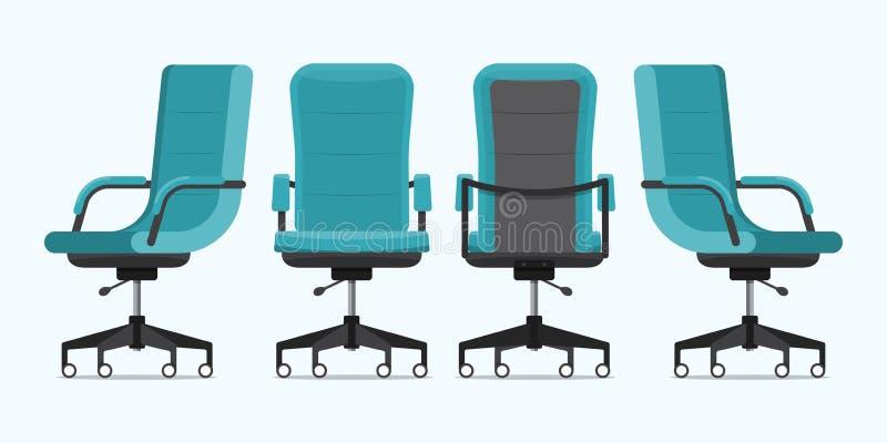 Стул офиса или стул стола в различных точках зрения Кресло или табуретка в фронте, задней части, бортовых углах Голубая мебель дл иллюстрация штока