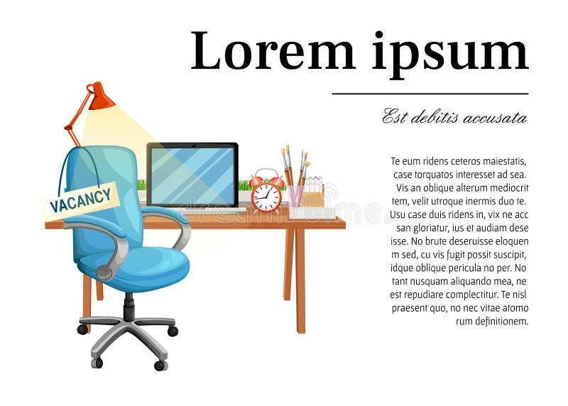 Стул офиса с рабочим местом свободного места знака вакансии для рабочего места дела работника и значка il кресла стола мебели вак иллюстрация вектора