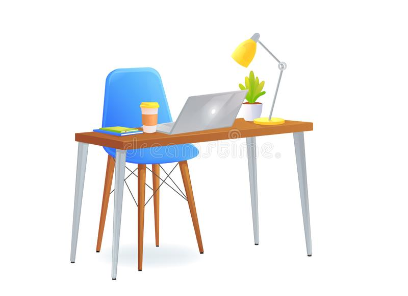 Стул офиса с таблицей и ноутбуком и кофейной чашкой около книг и лампы и милого завода Современная мебель для рабочего места иллюстрация вектора