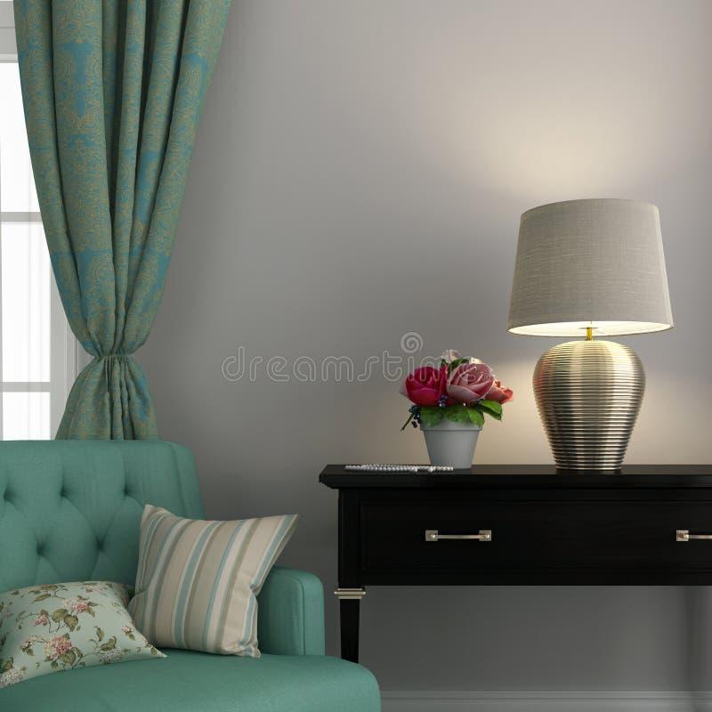 Стул бирюзы и золотая лампа стоковые фотографии rf