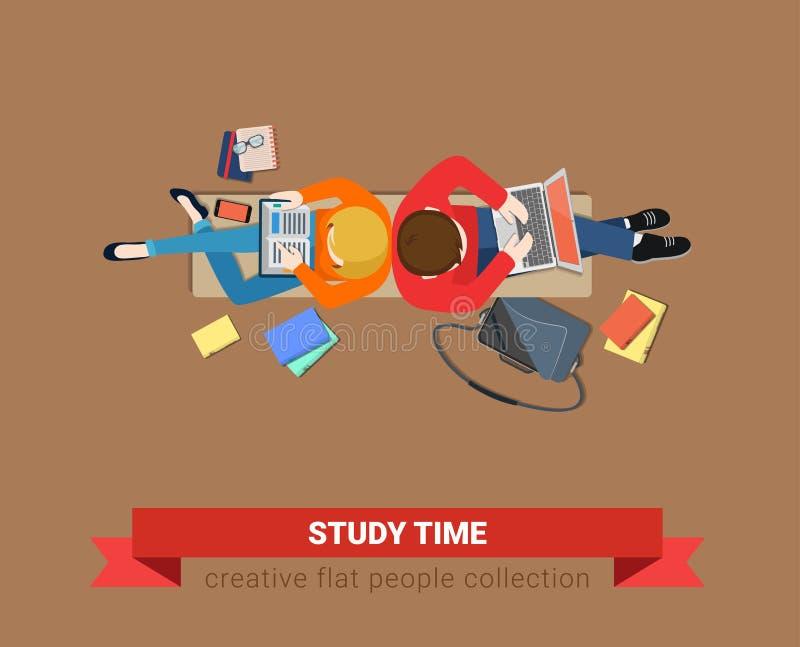 Студенты взгляд сверху стенда изучают вектор компьтер-книжки образования времени плоский бесплатная иллюстрация
