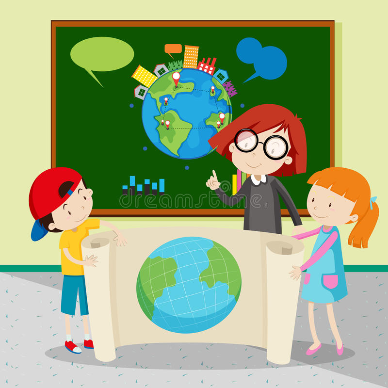 Студенты держа большую карту мира иллюстрация вектора