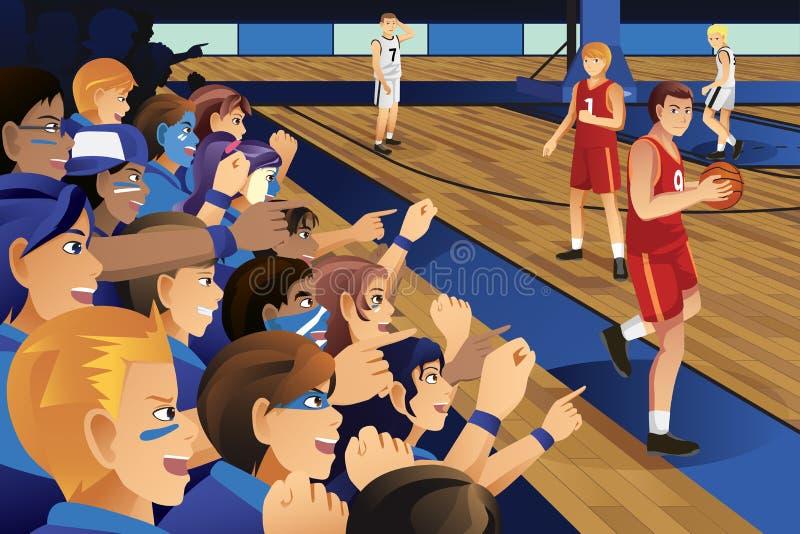 Студенты колледжа веселя для их команды в баскетбольном матче иллюстрация вектора