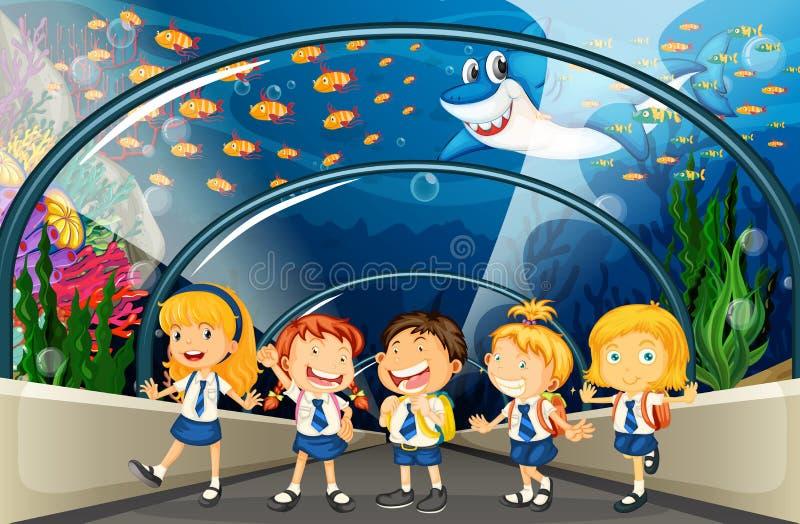 Студенты посещая аквариум с сериями рыб иллюстрация вектора