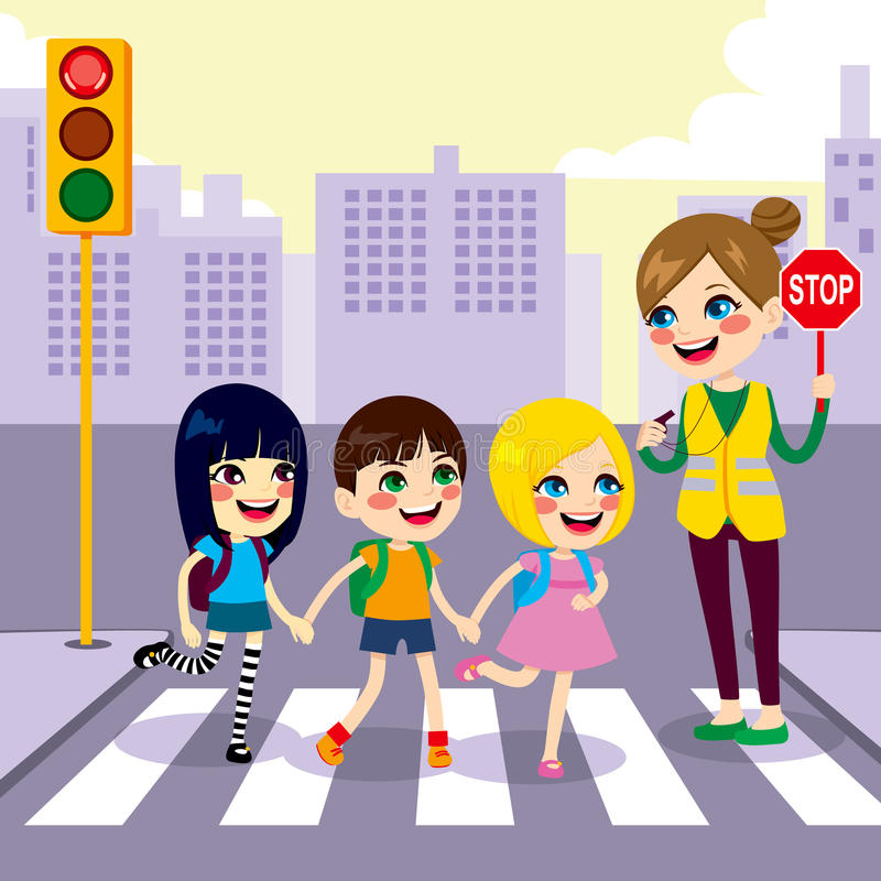 Студенты школы пересекая улицу иллюстрация штока