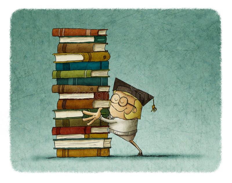 Студент-выпускник девушки обнимая стог книг иллюстрация вектора