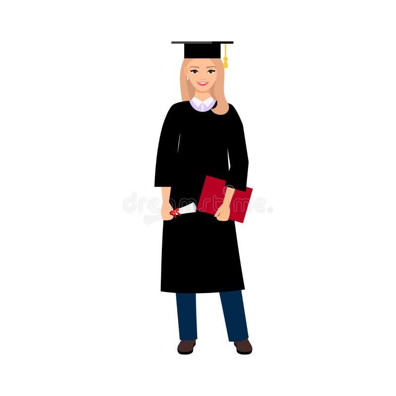 Студент-выпускник студентки университета иллюстрация штока