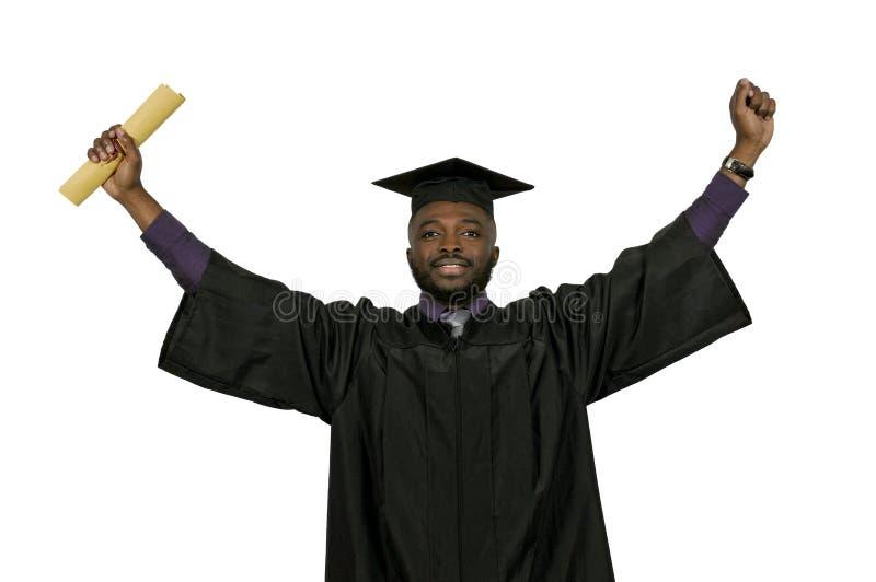 Студент-выпускник чернокожего человека стоковая фотография