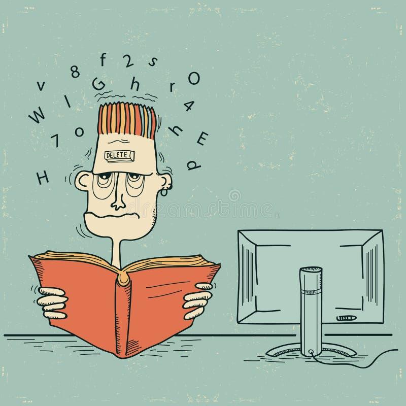 Студент и компьютер. Человек вектора вымотан от  иллюстрация вектора