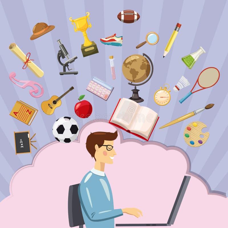 Студент концепции образования, стиль шаржа иллюстрация штока