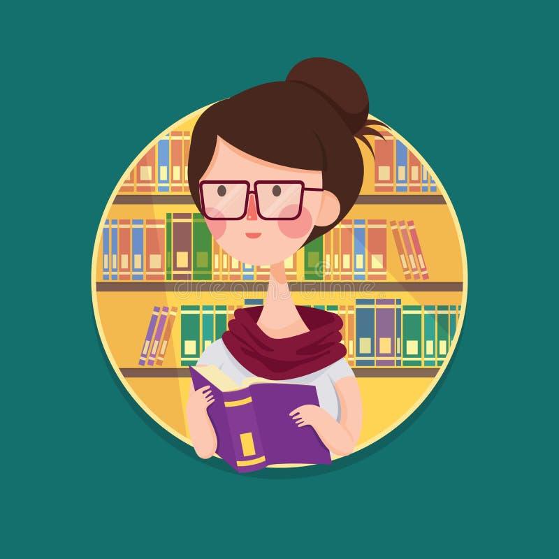 Студент ученицы колледжа изучая в библиотеке иллюстрация штока