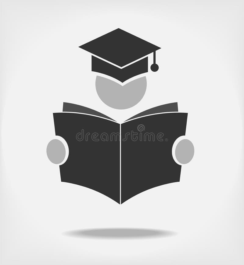 Студент читая книгу иллюстрация вектора