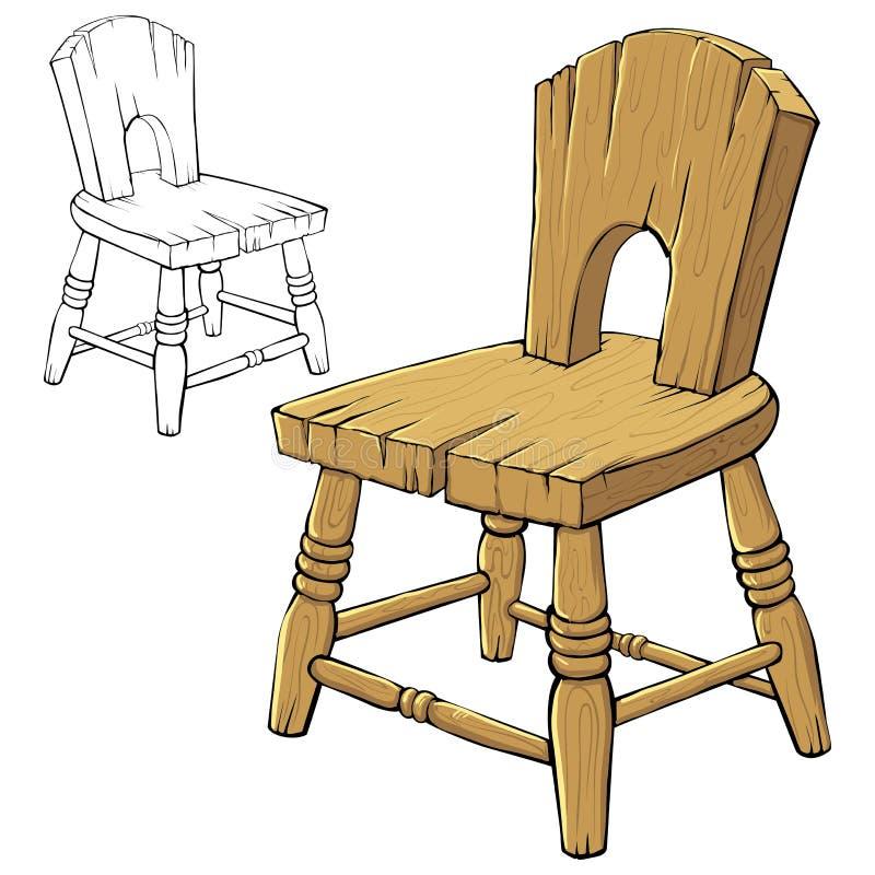 стул деревянный иллюстрация вектора