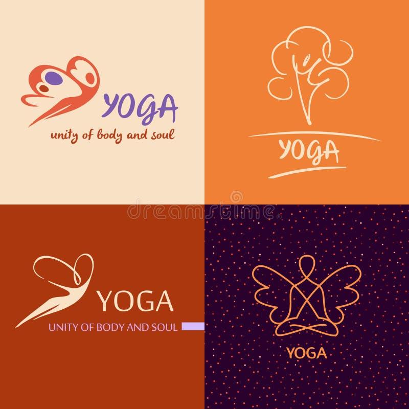 Студия йоги вектора шаблона логотипа Дизайн изображения для здоровья бесплатная иллюстрация