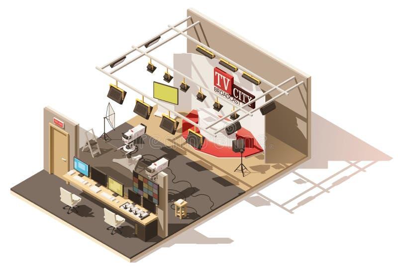 Студия телевидения вектора равновеликая низкая поли бесплатная иллюстрация
