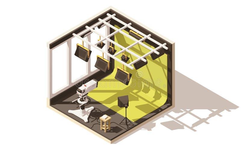 Студия телевидения вектора равновеликая низкая поли иллюстрация вектора