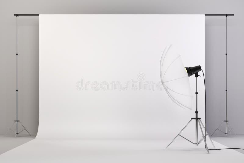 студия 3d настроила с светами и белой предпосылкой иллюстрация вектора