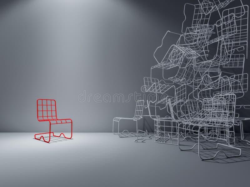 стул провода 3Ds иллюстрация вектора