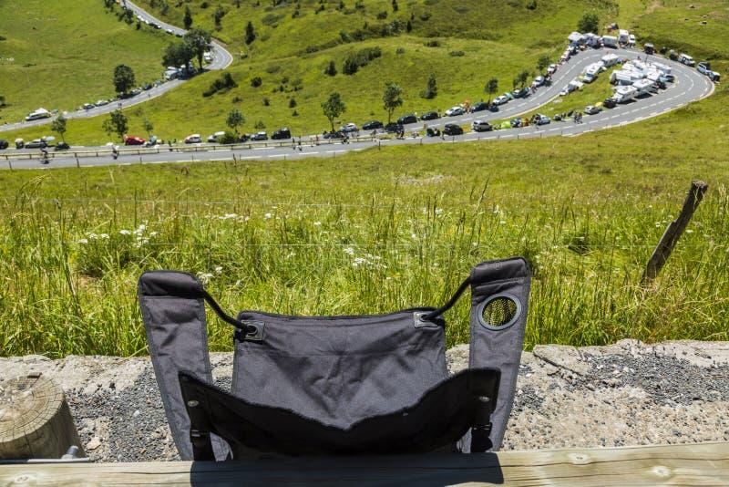 Стул складчатости зрителя - Тур-де-Франс 2014 стоковая фотография rf