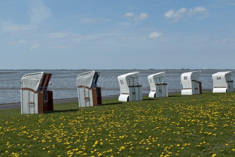 Стулья корзины пляжа стоковое изображение rf