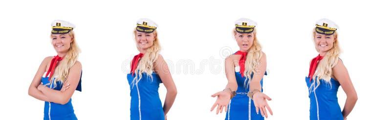 Стюардесса женщины изолированная на белизне стоковое фото rf