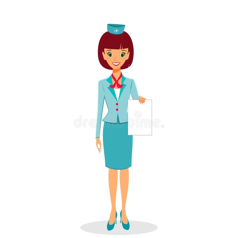 Стюардесса шаржа в равномерном держа чистом листе бумаги бесплатная иллюстрация