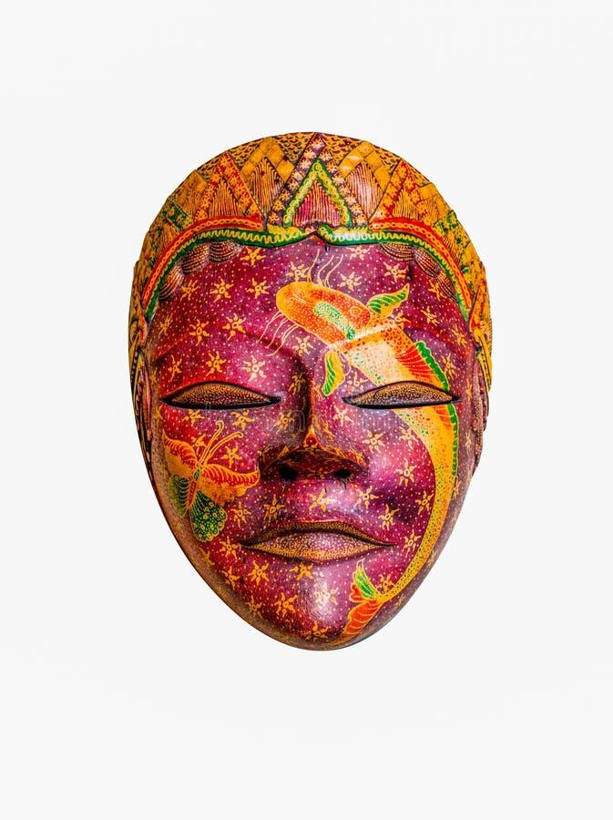 Сувенир маски батика деревянный изолированный на белой предпосылке стоковое фото