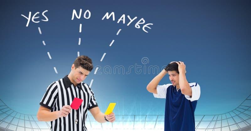 Судите дающ игрока красного или желтая карточка для нарушения правил игры и да никакой возможно отправляет СМС с стрелками графич стоковая фотография