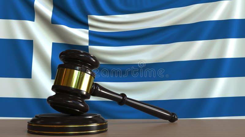 Судите молоток и блок ` s против флага Греции Перевод 3D греческого суда схематический иллюстрация штока