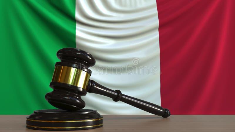 Судите молоток и блок ` s против флага Италии Перевод 3D итальянского суда схематический бесплатная иллюстрация