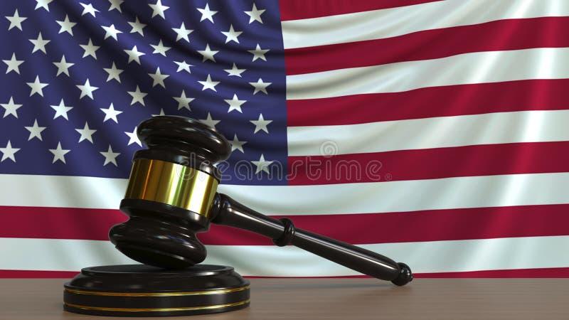 Судите молоток и блок ` s против флага Соединенных Штатов Перевод 3D американского суда схематический иллюстрация штока