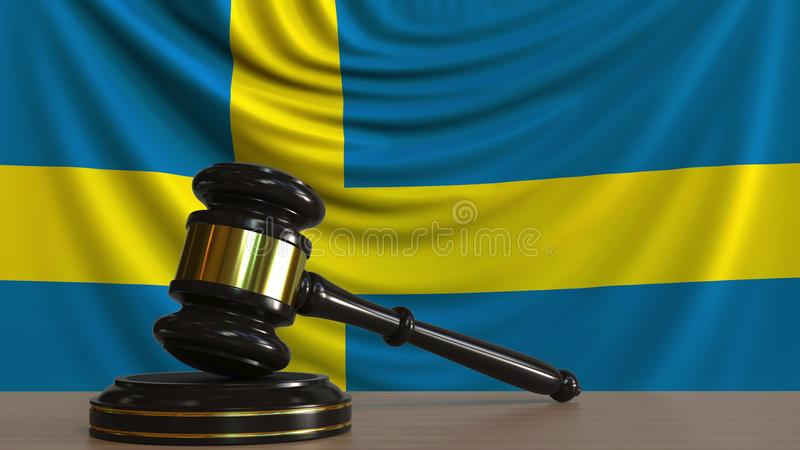 Судите молоток и блок ` s против флага Швеции Перевод 3D шведского суда схематический иллюстрация штока