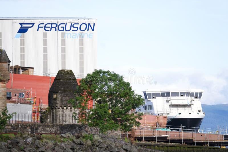 Судостроение Ferguson морское, который будет национализировать шотландский бушель правительства Великобритании стоковое изображение