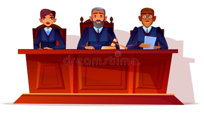 Судьи на иллюстрации вектора слушания суда иллюстрация вектора