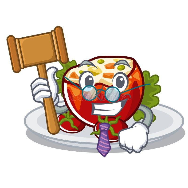 Судья заполнил томаты в форме мультфильма иллюстрация вектора