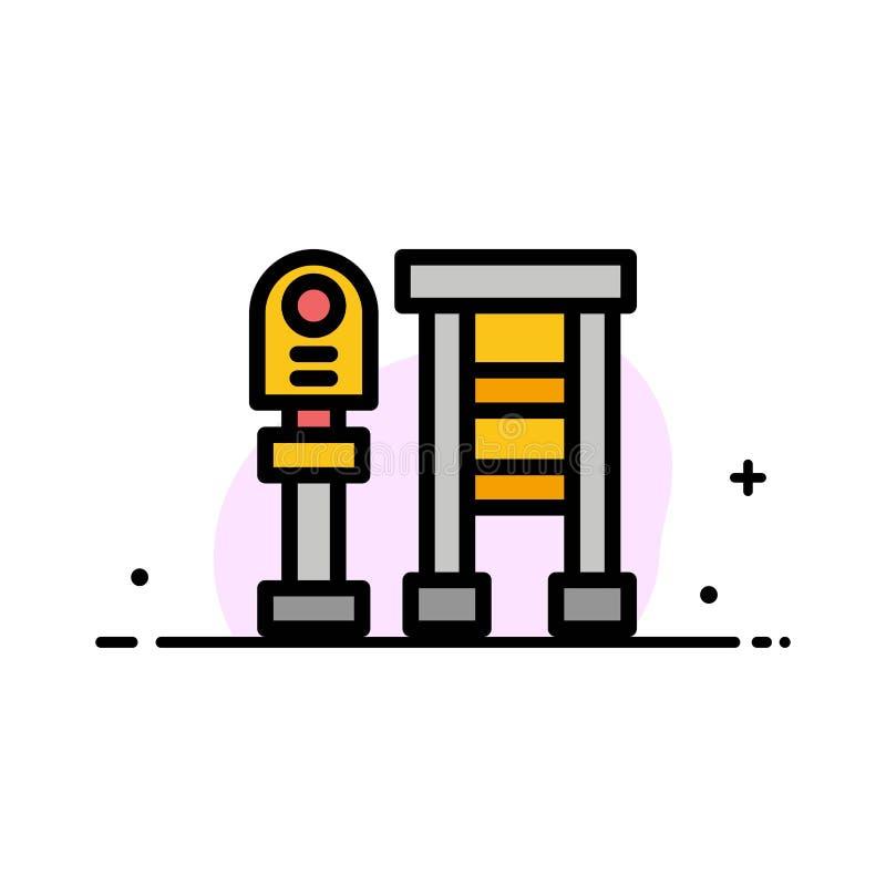 Суд, автобус, станция, линия дела стопа плоская заполнил шаблон знамени вектора значка иллюстрация штока