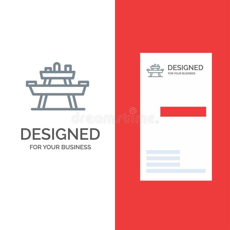 Суд, еда, парк, место, дизайн логотипа пикника серые и шаблон визитной карточки иллюстрация штока