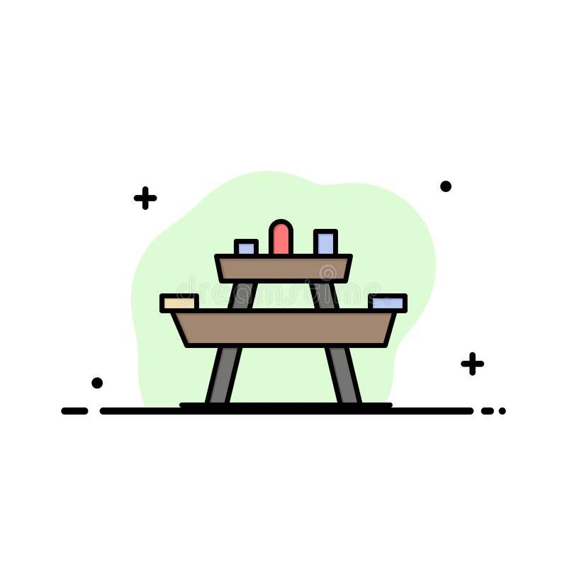 Суд, еда, парк, место, линия дела пикника плоская заполнил шаблон знамени вектора значка иллюстрация вектора
