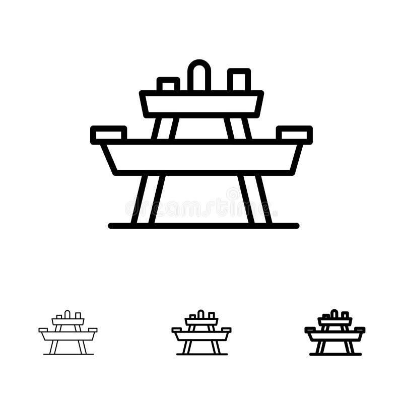 Суд, еда, парк, место, участвует в пикнике смелая и тонкая черная линия набор значка иллюстрация вектора