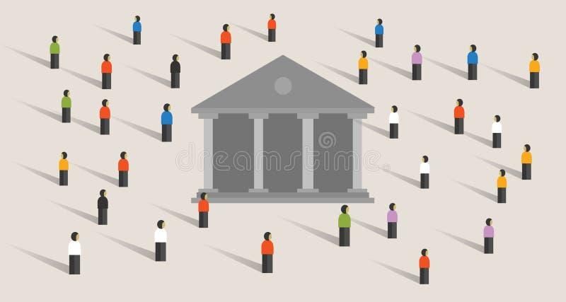 Суд значка здания правительства символ людей управления суда демократии совместно протестует иллюстрация штока