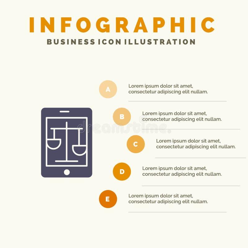 Суд, интернет, закон, законная, онлайн твердая предпосылка представления шагов Infographics 5 значка иллюстрация штока