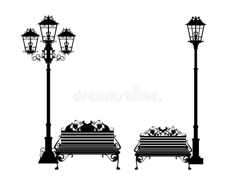 Суд и набор силуэта вектора уличного света черный бесплатная иллюстрация